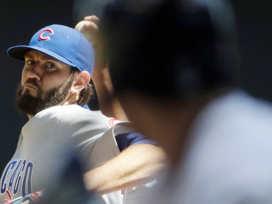 Chicago Cubs starting pitcher Jason Hammel went 15-10 for the Cubs during the regular season and was the fifth starter during the regular season.