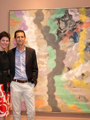 Artis-Naples CEO and President Kathleen van Bergen and Baker Museum Director and Curator Frank Verpoorten with a work by John Seery that will come to the museum from the Olga Hirshhorn collection. (Courtesy Artis-Naples)