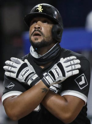 Chicago White Sox's Jose Abreu looks up after hitting a solo home run. Abreu won the AL MVP prize on Thursday.