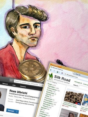 Artist rendering shows Ross William Ulbricht appearing in Federal Court in San Francisco after his Oct. 2013 arrest.