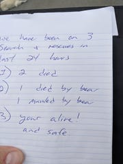 A note from the Alaska state troopers who answered