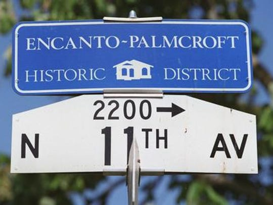 This is the sign for the Encanto-Palmcroft Historic District.