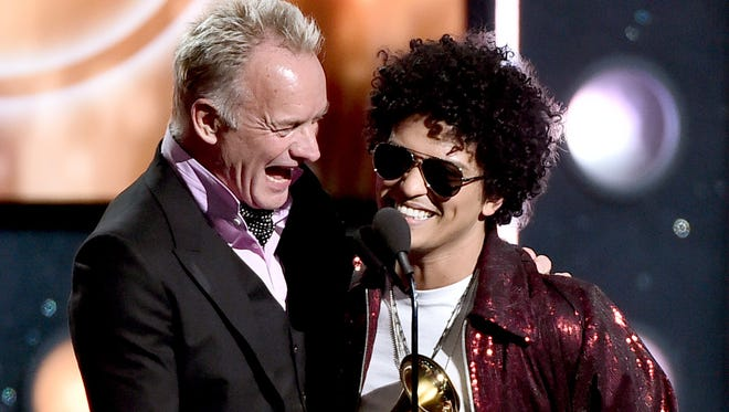 Sting and Bruno Mars, two faces that got plenty of screen time during Sunday night's Grammys.