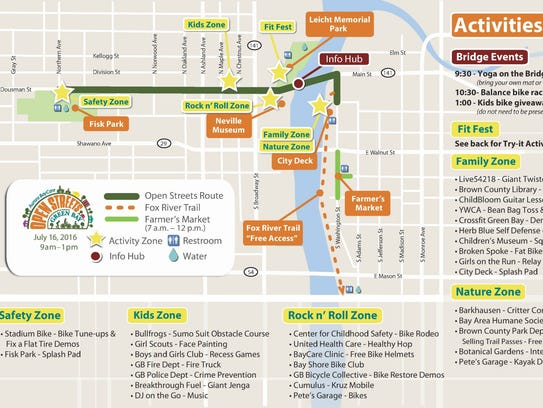 The map with activities and street closures in Green