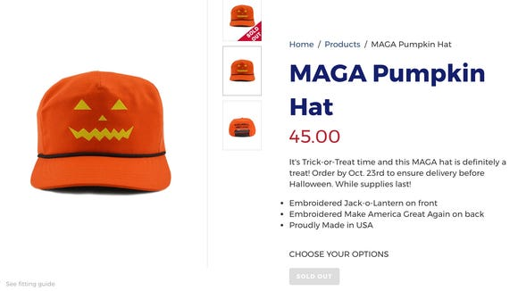 The Make America Great Again pumpkin hat is sold out,