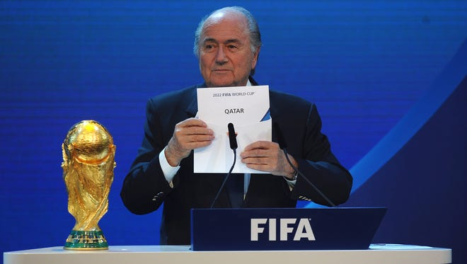 FIFA President Joseph S Blatter names Qatar as the winning hosts of 2022 during the FIFA World Cup 2018 & 2022 Host Countries Announcement at the Messe Conference Centre on December 2, 2010 in Zurich, Switzerland.