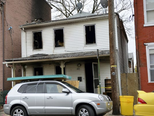 The home at 411 N. Ninth St. in Lebanon shows damage from Saturday morning's fire. Lebanon Fire Commissioner Duane Trautman estimated the damage at 130,000 to 150,000. The home was unoccupied as a tenant was moving out at the time of the blaze. A pet cat and pet bird died in the fire.