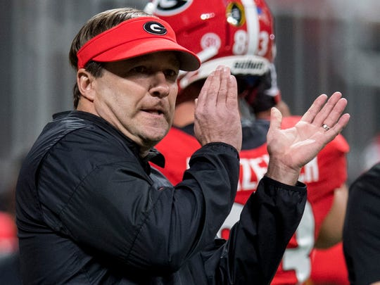 Georgia head coach Kirby Smart before the College Football Playoff National Championship Game in the Mercedes Benz Stadium in Atlanta, Ga., on Monday January 8, 2018.