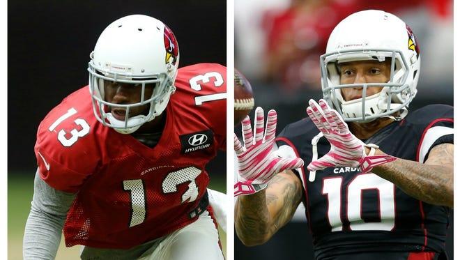 Arizona Cardinals receivers Jaron Brown (13) and Brittan Golden (10).