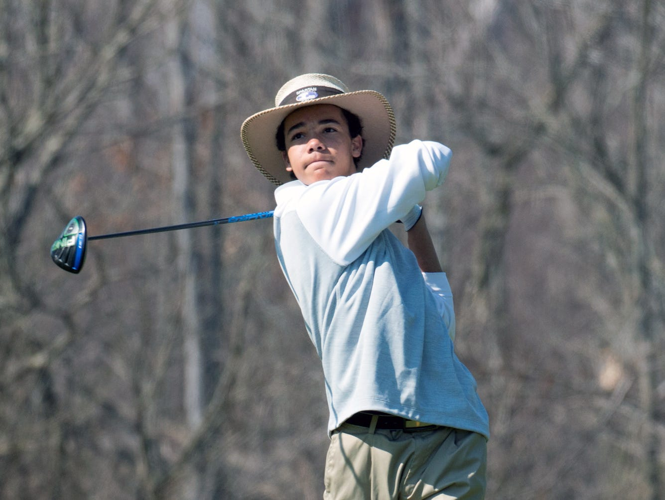 Andrew Walker of Lakeview tees off on the 13th hole Thursday afternoon at Cedar Creek golf course during the Lakeview Jamboree.