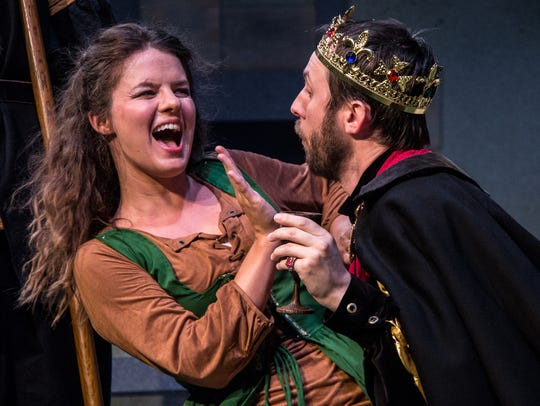 Maggie Lou Rader (L) plays the dual role of Robin Hood