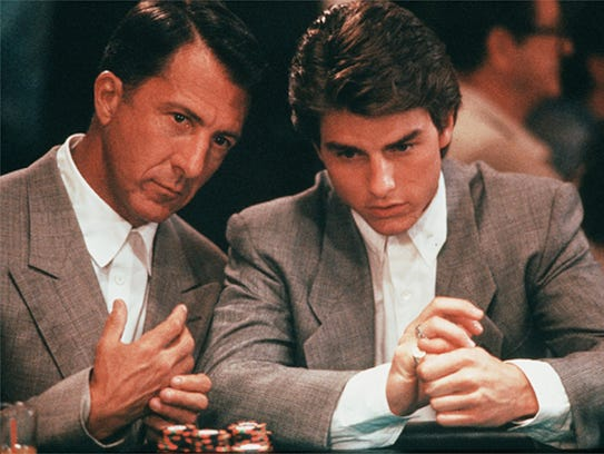 Dustin Hoffman (left) and Tom Cruise in a scene from