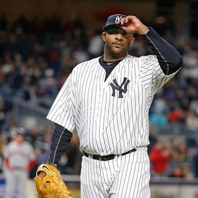 New York Yankees starting pitcher CC Sabathia leaves