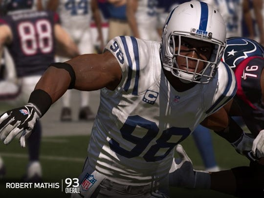 Colts LB Robert Mathis is rated as the team's top player in 'Madden 15'.
