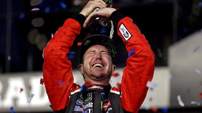 Kurt Busch (41) celebrates winning the 2017 Daytona 500 in February.