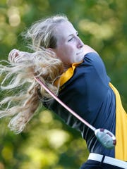 Shay Knowles of Benton Central drives on No. 14 during second round play of the Girls County golf tournament Thursday, September 15, 2016, at Coyote Crossing. Lafayette Jeff won the team title with a score of 341.