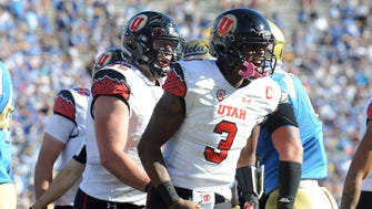 October 22, 2016: Utah Utes quarterback Troy Williams (3) reacts after scoring a touchdown against the UCLA Bruins during the second half at the Rose Bowl.