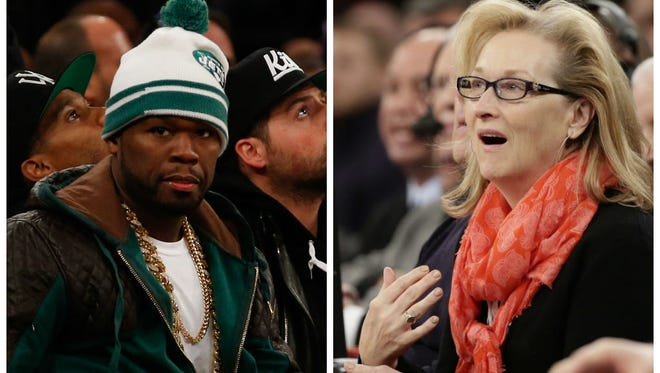 Rapper 50 Cent and actress Meryl Streep became fast friends during a Knicks-Lakers game on Jan. 26, 2014 in New York.