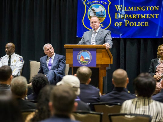 New Wilmington police chief Robert J. Tracy speaks during a press conference to introduce the chief at the Chase Center on the Riverfront in Wilmington on Wednesday afternoon.