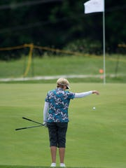 Jane Blalock of Cambridge, Mass., takes a drop at the