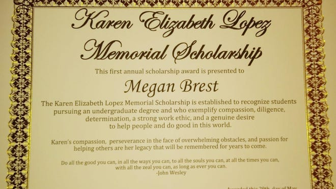 A photo of the scholarship award Robert Lopez will sign for this years recipients for the Karen Elizabeth Lopez Memorial Scholarship. Agua Dulce students Megan Brest and Micaela Gaitan are recognized for this years award.