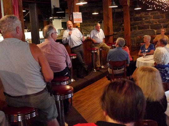 "Harrisonburg City Councilman and 6th Congressional candidate Kai Degner talks to a group of about 70 at his at his ""Get to Know Kai"" event at The Mill Street Grill on Wednesday, Sept. 7, 2016. To his left is Frank Nolen, former State Senator and Chairman of the Staunton Democratic Committee who introduced him."