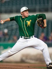 Iowa City West High School's Nick Gallagher (12) pitches against Johnston in the first inning Friday, Aug. 1, 2014, during the 2014 IHSAA Class 4A State Baseball Tournament at Principal Park in Des Moines.