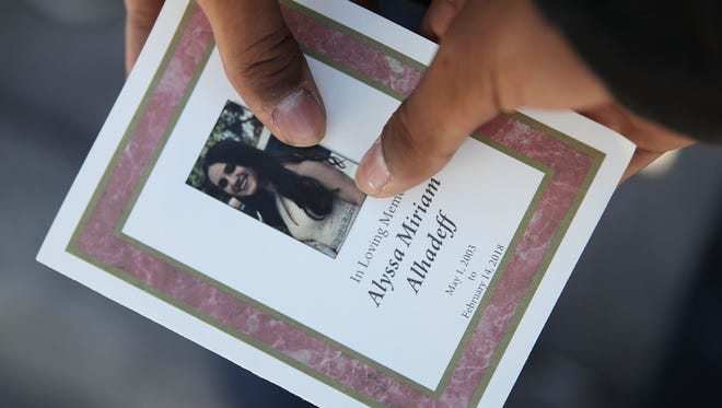 A program from the funeral of Alyssa Alhadeff at the Garden of Aaron at Star of David Memorial Gardens on Feb. 16, 2018 in Parkland, Florida. Alhadeff was one of 17 people killed in the Feb. 15 shooting at Marjory Stoneman Douglas High School.