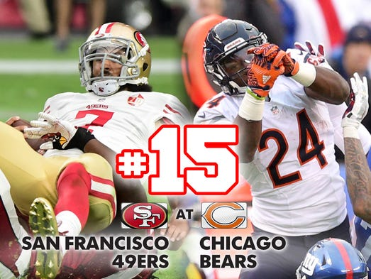 15. 49ers at Bears: San Francisco and Chicago are looking