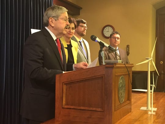 Gov. Terry Branstad spoke to reporters Monday, March 27, 2017, at the Iowa Capitol. He talked about a new report on Iowa's leadership in providing wind-generated electricity and other topics, including  the Iowa Public Employees'  Retirement System.