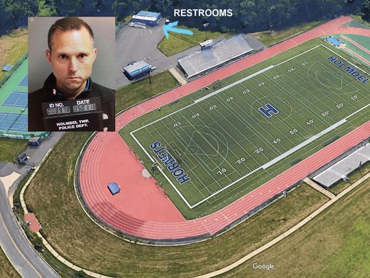 "May 3, 2018- Holmdel, NJ- Holmdel track where Kenilworth Public School Superintendent Thomas Tramaglini is accused of relieving himself in public early Monday morning after school officials reported finding ""daily"" deposits of excrement by an athletic field."