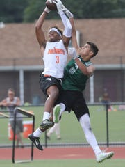 Josiah Purdie of Hasbrouck Heights makes this catch against New Milford.