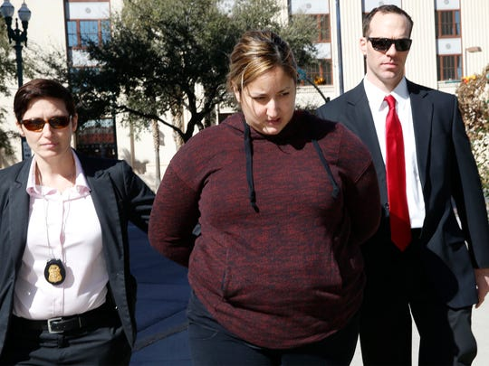 Perla Maldonado Annabi, of Santa Teresa was one seven people indicted by a federal grand jury in connection with a $237,000 bank fraud scheme. Annabi was listed on county records along with her husband, Mike Annabi, as the owners of the former Chubby's Bronx Deli at 2400 N. Oregon St., whichservedsandwiches named after gangsters such as John Gotti, Don Corleone and Al Capone. Here she is led into the El Paso County Jail in January 2017.