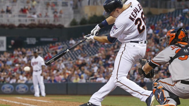 The Minnesota Twins' Max Kepler hits an RBI single off Baltimore Orioles pitcher Chaz Roe during the seventh inning Thursday in Minneapolis. Kepler hit a solo home run in the sixth. The Twins won 6-2.