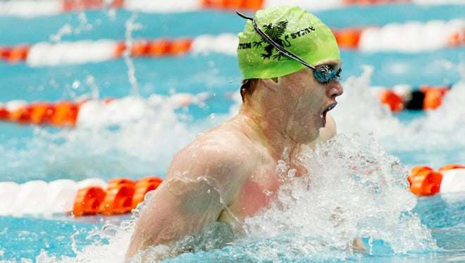 Alex Hines, of STEM, competes in the 100 yard breaststroke event during the 2017 TISCA High School Swimming & Diving Championship at the University of Tennessee Allan Jones Aquatic Center on Saturday.