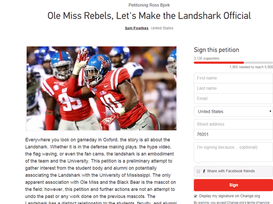 Petition requests landshark as official the on field mascot for Ole Miss.