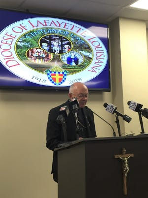 Bishop Douglas Deshotel of the Diocese of Lafayette, Louisiana, at a news conference Monday, June 4, 2018.