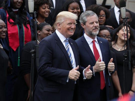 President Trump and Liberty University President Jerry Falwell Jr. on May 13, 2017.