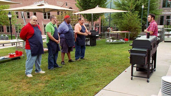 On the set of America Grilled, a Travel Channel show filmed in downtown Asheville.