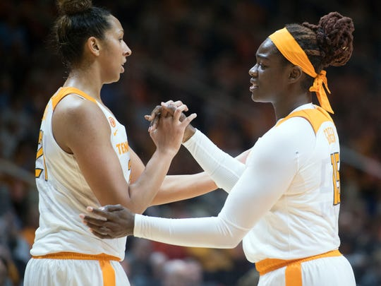 Tennessee's Cheridene Green, right, and Mercedes Russell celebrate during the game against Vanderbilt on Sunday, January 7, 2018.