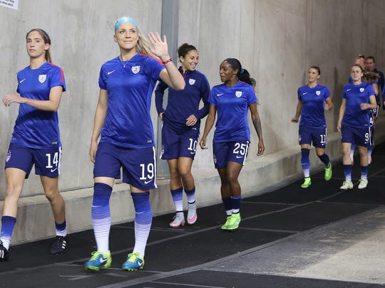 The United States Women's National Team soccer team takes the field  for their match against Haiti on Thursday, September17, 2015 at Ford Field in Detroit Michigan.