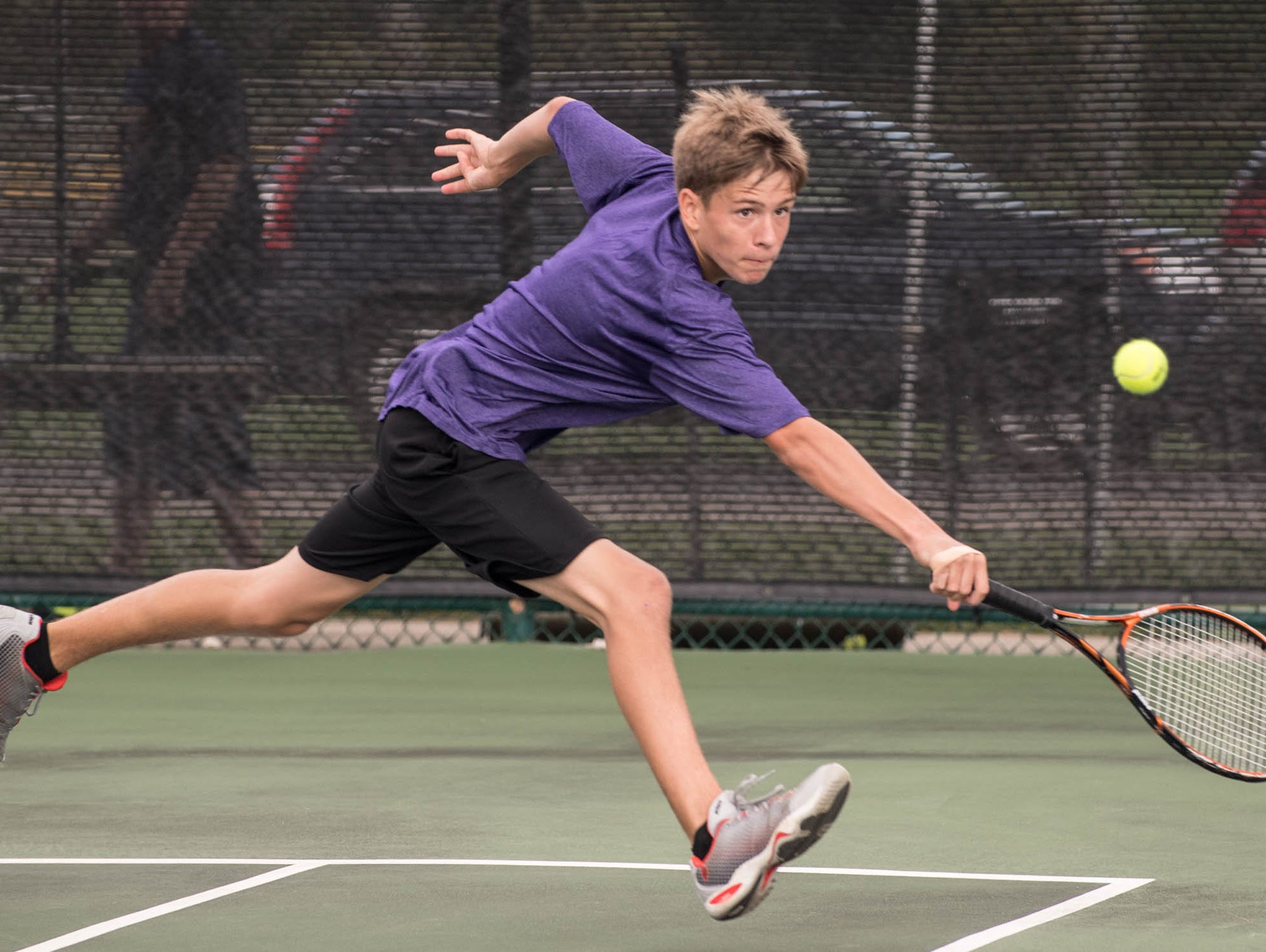 Lakeview High School freshman Cole Henkel during the All-City Tennis on Aug. 25.