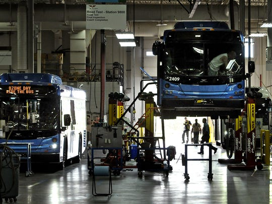 A nearly completed bus is elevated above the floor in the New Flyer plant in St. Cloud in a photo from 2012.