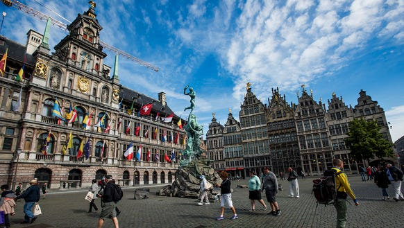 Antwerp city hall and guild buildings.
