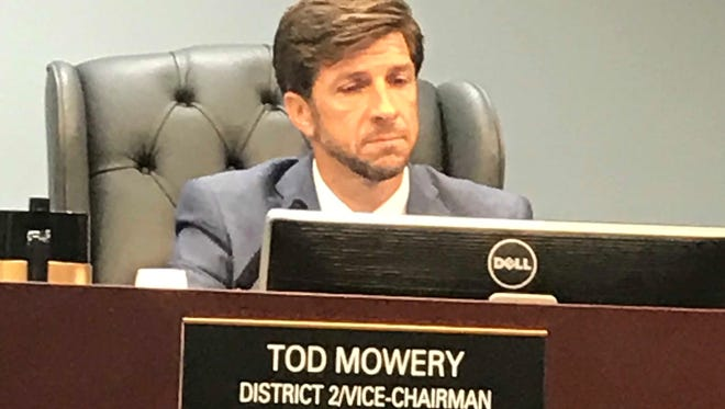 St. Lucie County Commissioner Tod Mowery sits in on a Board of County Commissioners meeting Dec. 5, 2017, in Fort Pierce. Mowery resigned effective Jan. 1 after allegations surfaced about an extramarital affair.