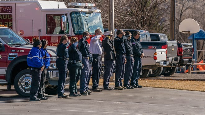 Many waited outside to pay their respects Sunday afternoon as a procession in honor of Farmington Fire Department Lt. Jacob Shadd Rohwer approached Farmington Station 2 on East Main Street.