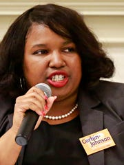 10th Congressional district candidate Shavonnia Corbin-Johnson during the democratic debate for three contested Democratic primary races hosted by the York County Young Democrats at Marketview Arts in York City, Thursday, April 26, 2018. Dawn J. Sagert photo