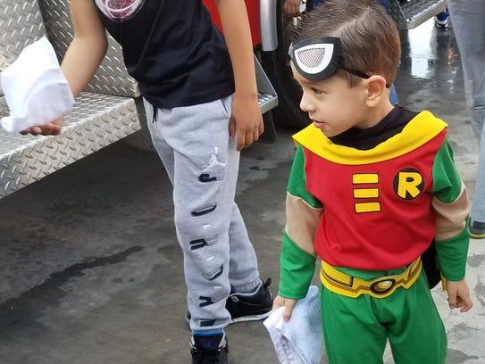 Truman Sledge, 5, aka Robin, was one of many kids who