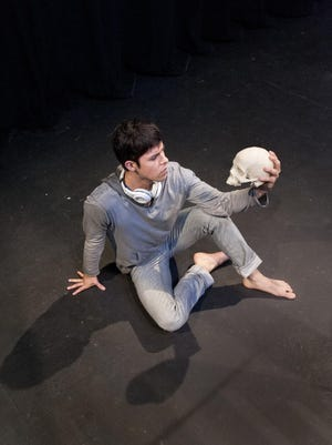 """Adam Rodriguez rehearses a scene from """"Hamlet."""" The show opened Friday, Aug. 7, 2015 at the Main Street Theatre in downtown Visalia."""