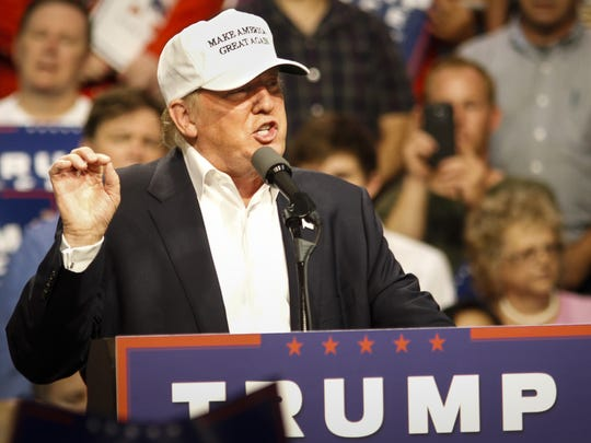 GOP Presidential candidate Donald Trump campaigns Friday, August 19, 2016, at The Summit in Dimondale.